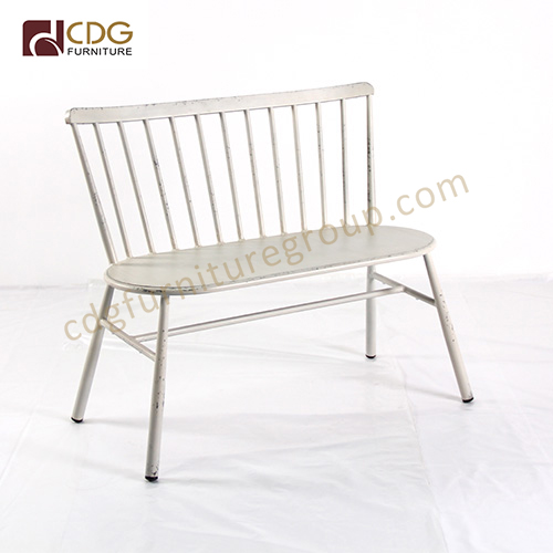 Fantastic 2 Seat French Retro Stacking Metal Bench Outdoor Lounge Lamtechconsult Wood Chair Design Ideas Lamtechconsultcom