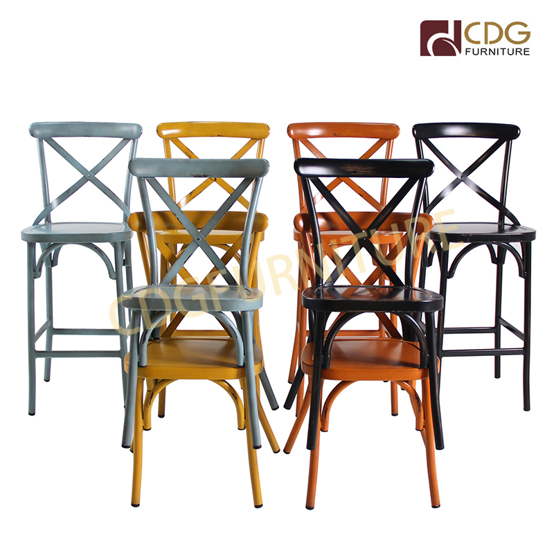Big Size Stakcable Vintage Outdoor Colorful Wedding Metal Dining Chair Restaurant Furniture 657bs H45 Alu St Jiemei