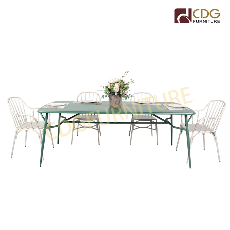 Fashion Design Industrial France Square Long Rectangle Garden Outdoor Indoor Not Folding Metal Tables 749dt Alu Re21090 Jiemei
